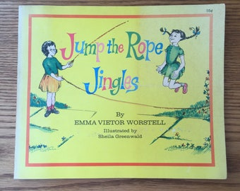 Vintage Children's Book 1972 Jump Rope Book, Jump the Rope Jingles, Vintage Yellow Book, Picture Book, Children's Rhymes, Jump Rope Rhymes,