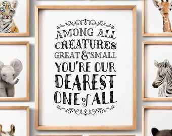 Nursery print, All creatures great and small, INSTANT DOWNLOAD, Nursery printables, Baby animals, The Crown Prints, Gender neutral nursery