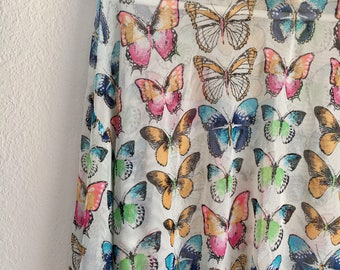 Vintage Sheer Mesh Colorful Butterflies Long Sleeve Blouse/Top Butterfly M/L Springtime Summer