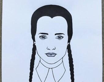 "Wednesday Addams | 8.5""x11"" Inked Drawing | **Original Hand Drawn Art**"