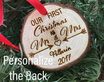 Personalized Wood Ornament Our First Christmas as Mr & Mrs Ornament Personalized 2017 Christmas Ornament Holiday First Christmas Ornament