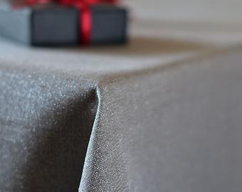 Silver Linen TABLECLOTH Metallic Wedding Table Cover Rectangle Natural Linen  Table Cloth Sparkly Party Table Decor Custom Tablecloth