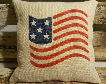 "Flag Burlap Stuffed Pillow Americana Burlap Pillow Burlap 12"" x 12"" Patriotic Flag Pillow"
