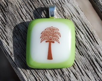 SALE Palm Tree Fused Glass Pendant Handmade Jewelry Florida Vacation