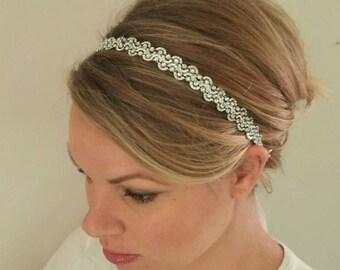 Rhinestone Headband, Bridal Headband, Silver Headband