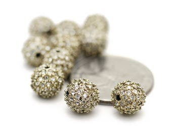 Pave Swarovski Crystal Balls 9mm 2pcs