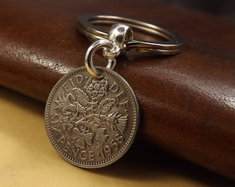 Genuine 1958 UK Lucky British Sixpence Coin Keychain 60th Birthday Gift