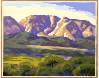 Long Valley Morning, 12 block woodcut, signed edition of 30.