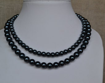 pearl necklace,2 strands pearl necklaces,, dark gray glass pearls necklaces, pearl necklace,bridesmaids necklace,  pearl necklace