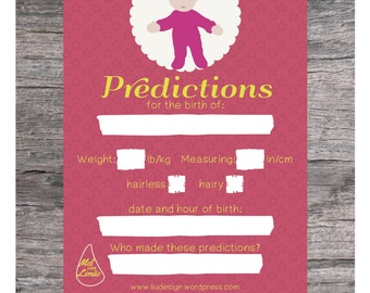 Baby Shower Activity - Baby Shower Game - Baby Shower Pool - Baby Shower Cards