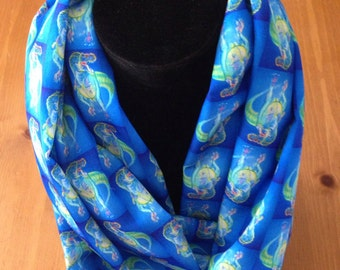 TRex Blue Pastel Silky Infinity or Long Scarf