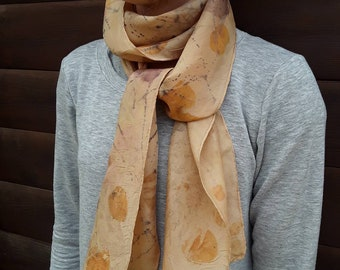 Eco print womens scarf, soft silk, printed with natural dyes\plants Boho Chic, Botanical Dyed, avocado dye