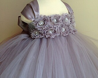 Gray flower girl dress with gray chiffon flowers. Tutu dress