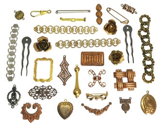 Assorted Vintage Brass Findings And Stampings, 30 Pieces, Jewelry Making, Patina Brass, B'sue Boutiques, 10 to 80mm,  Item06923
