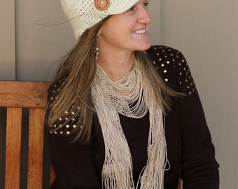 Stylish Crochet Newsboy Winter Hat for Adults - Brimmed Hat - Winter Hat - Adult Crochet Hat - Adult Winter Hat - Teen Winter Hat - Button