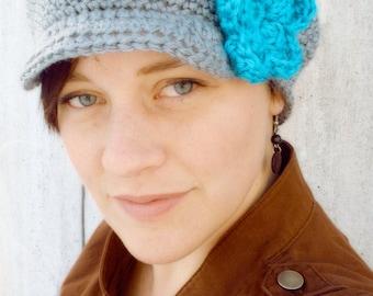 Women's Crochet Newsboy Hat with Flower - Crochet Newsie Hat - Hats with Brims - Crochet Cancer Hat - Cute Newsboy Hat - Women's Crochet Hat