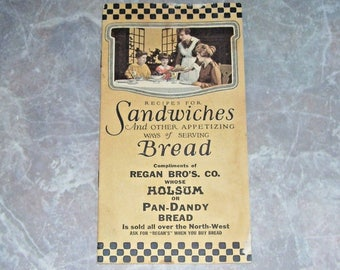 Vintage Holsum Pan-Dandy Bread Regan Bros 1922 Recipes for Sandwiches Booklet