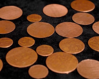 Copper Blanks Discs Circles Coin Beads, 50 Piece 5 sizes Unfinished Surface NO Holes, Pure Solid Copper, Metalworking Supplies, reclaimed
