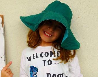 Womens floppy summer hat wide brim hat sun hat reversible floppy beach hat green turcuoise vintage