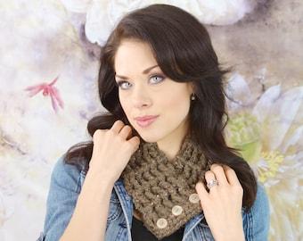Womens Scarf Womens Scarflette Barnwood Brown Barn Wood Brown Scarf Brown Scarflette Crochet Scarf Crochet Scarflette Button Cowl Knit like