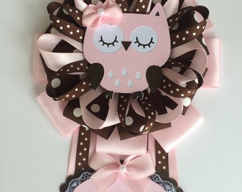 Owl baby shower corsage/Pink and brown baby shower corsage
