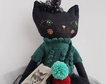"Cat Doll 17"", Black Cat Lady, Handmade Doll, Cloth Art Doll, OOAK Doll, Art Doll,"