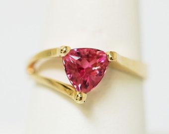 Trillion Cut Pink Tourmaline in 14k YellowGold  Ring