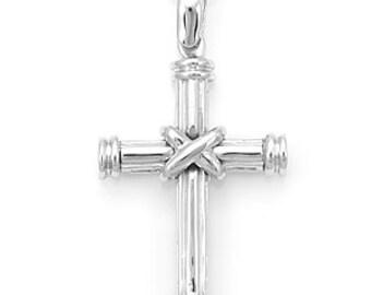 Solid 14K White Gold Cross Pendant with 24 inches DC Boston Chain,Religous Pendant, Fine Jewelry