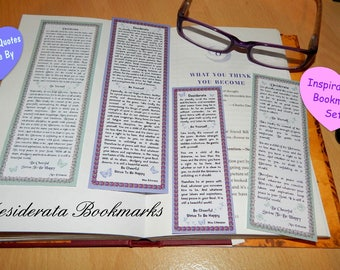 Desiderata Bookmarks - Set of 4 - Two Full Poem, Two Edited For Positivity & Law Of Attraction - Spiritual Quotes To Live By