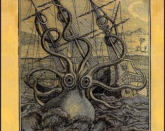 Sea Monster Print - Le Poulpe Colossal - Romantic Age -  Beach Cottage Decor ~ Rustic Cabin Art ~ Kraken ~ Octopus Illustration ~ Seafaring