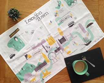 London Map / Tea Towel / Gifts For Travelers / Mothers Day Gift / Map Print / London Gift / Travel Gift / New Home Gift / Retro Style Gift
