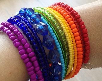 Rainbow bracelet/ Rainbow bead bracelet/ Rainbow jewelry/ Memory wire bracelet/ Rainbow wire bracelet/ Beaded jewelry/ Beaded bracelet/