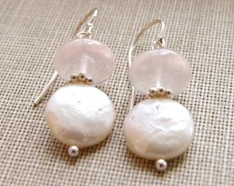 Rose Quartz Jewelry Gemstone Earrings Coin Pearl Sterling Silver Rose Quartz Earrings Blush Bridesmaid Earrings Pearl Wedding Jewelry