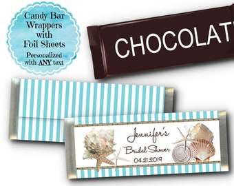12 Candy Bar Wrappers, Wedding, Bridal Shower, Birthday, Luncheon, Aqua Blue Stripes, Sea Shells, Starfish, Beach Ocean Nautical Theme