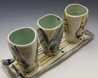 Set of handmade tumblers and tray by Potteryi. Contemporary pottery tumbler gift set.