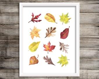 Watercolor Fall Leaves Printable Wall Art Autumn Print Fall Colors Print Fall Decor Brown Red Yellow Orange Leaf Print Thanksgiving Decor