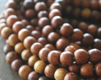 Bagru Rosewood 10mm Beads - Full Strand - 108 Beads Plus Head Bead - Perfect for Lotsa Mala Style Love