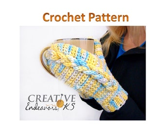 PDF Mitten Pattern, Cable Crochet Pattern, I Chord Mitten Tutorial, Braided Cable Mitten, Braided I Chord Mitten, Instant Download Pattern