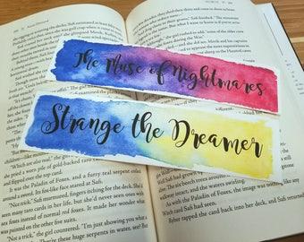 Strange the Dreamer Quote Watercolor Bookmark