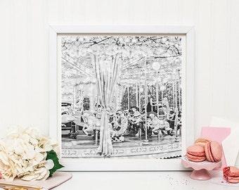 Black and White Paris Carousel Photography print