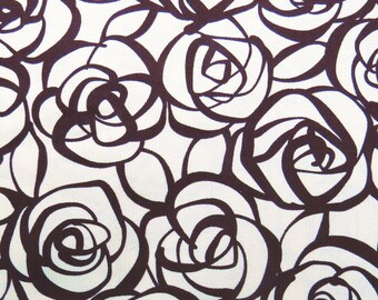 2446A -- Half Yard - Abstract Rose Flower Fabric Dark Brown in Cream White -- Japanese Cotton Canvas -  Cosmo Textile