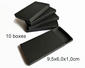 Black gift box, jewelry box, gift wrapping, drawer box, set of 10, small gift box, black packaging, party favor box, slide box, merchandise