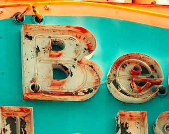 Vintage neon sign photo, orange, turquoise, rust, peeling paint, motel sign, Jersey Shore, funky decor, mid century, doo wop