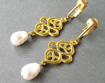 Gold Swirl Pearl Clipon Earrings, White Pearl Drop Bridal Clip Earrings, Ornate Dangle Wedding Ear Clips for Non Pierced Ears, Anjali