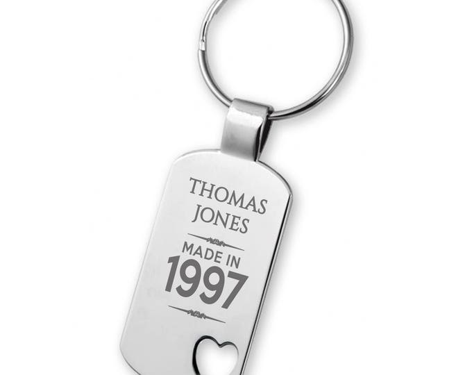 Engraved 21ST BIRTHDAY keyring gift, heart cut out keyring - 5583MD21