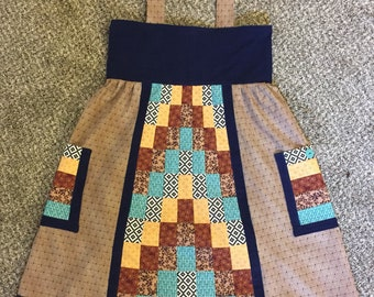 Handmade Patchwork Turquoise Brown Blue Corduroy Apron Dress • Small Medium • Pockets • Hippie Hippy • Grateful Dead • Phish • Retro Vintage