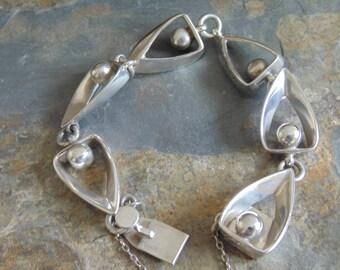 Miguel Garcia Martinez - Vintage Rancho Alegre Taxco Sterling Silver Modernist Link Bracelet