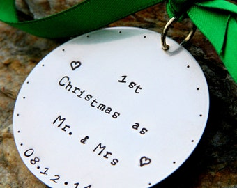 Personalized hand stamped Christmas Ornament First Christmas As Mr. and Mrs. husband and Wife Family Wedding New Marriage Son in Law