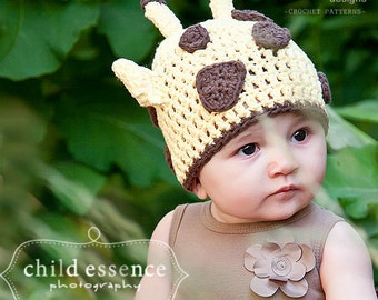 CROCHET Hat PATTERN - Giraffe Beanie - Easy - All Sizes Included from Preemies to Adults - Sell what you make - PDF 122