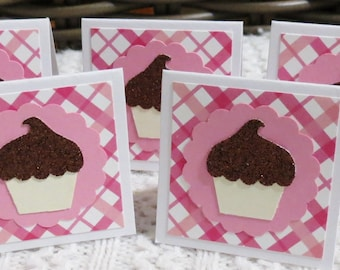 Pink Plaid and Chocolate Cupcakes, Handmade Gift Tag Mini Cards, Set of 24